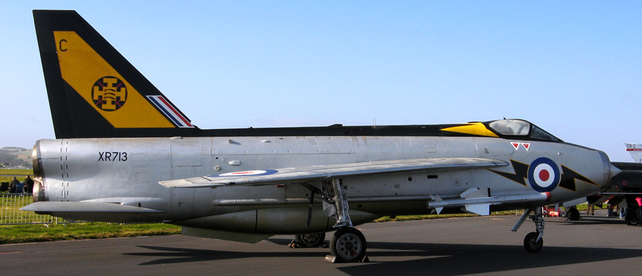 RAF English Electric Lightning F3 XR713 (retired), in 111 Squadron colours, at the 2012 RAF Leuchars Airshow.