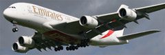 Emirates Airbus A380-861 S/n A6-EET Landing At Glasgow Airport.